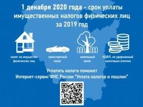 1 декабря 2020 года - срок имущественных налогов физических лиц не позднее 1 декабря